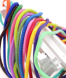 Wholesale Spiral Headbands - Free DHL 50cm Headband Spring Crystal Clear Protective sleeve Mobile Tablet Spiral Cord Protector for Cell Phone Charger Earphone Cord