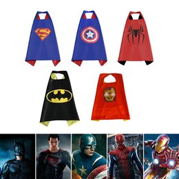 Wholesale Halloween Costume Captain America - 70cm Kids Superhero Capes Costume Halloween Party Cloak Captain America Batman Ironman Child Cosplay clothing Birthday Party Supply