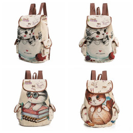 Wholesale Kids Bags Sale - Hot Sale Cute Cats Canvas Shoulder Bag Jacquard Embroidered Kids Teenager Girls Backpack School Bags CCA7577 20pcs