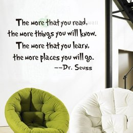 "Wholesale Things Packaging - Inspirational Quotes Wall Stickers Removable Decal Home Decor ""The More That You Read The More Things You Will Know"""