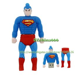 Wholesale Thumb Drive For Wholesale - Blue Kung Fu Superman Cartoon USB Flash Drive 8GB 16GB 2GB 4GB Memory Thumb Stick Pendrive Muscle Superman U Disk Gift For Boy
