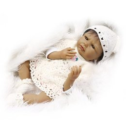 Wholesale Black Baby Dolls - African Black Skin Color Ethnic Baby Dolls 22 inch Soft Silicone Vinyl Reborn Baby Dolls in Woven Clothes