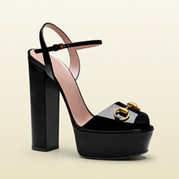 Wholesale Shoe Nude Patent Leather - Summer New Luxury Horsebit Designer Shoes Woman Metallic Leather Platform Sandal Chunky High Heels Gladiator Sandals Superstar Zapatos Mujer