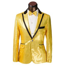 Wholesale Male Blazers - New Brand Sequined Costume Mens Wedding Suits Groom 2016 Male Formal Mens Blazers Slim Fit Suits Jacket With Pants Plus Size 6XL
