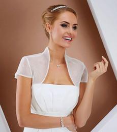 Elegante Organza Chaqueta de boda mangas capsuladas Abrigos nupciales Capas de la boda de verano Boda personalizada Wedding Bolero Bolero 2015 Chales Wraps desde fabricantes