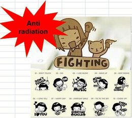 Wholesale 24k Gold Mobile Sticker - Anti-radiation cartoon 24K Gold Plating Sticker Patch computer decals for mobile phone MP3 tablet cameras