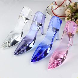 adornos tacones altos Rebajas Zapatos de tacón alto Modelo en miniatura de cristal de bricolaje Pisapapeles artesanías Regalo romántico casa adornos accesorios de decoración del hogar LZ0314