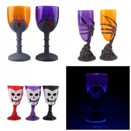 Wholesale Flash Light Stand - Flash Plastic Standing Cups Ghost Claws Skull Head Spider Halloween Goblet Luminous LED Light Up Pokal For Bar 5mx B