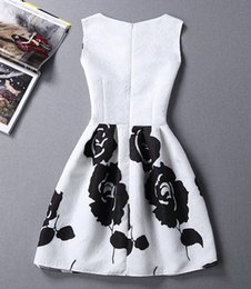 Wholesale Elegant Dress Vintage Casual Evening - Fashion Women Sleeveless Dress Elegant Retro Party O-neck Close-fitting Vintage Print Evening Vestido Casual Slim A-line white Dress