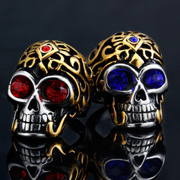 Wholesale Electroplated Rings - Bule Red Jewel Jewelry SkeletonRing Men's Titanium Steel Vintga Antique Finish Diamante Electroplate Cool Nightclub Accessories Skull Rings