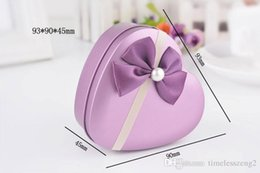 Wholesale Metal Heart Shaped Jewelry Box - Exquisite gift box gift packing gift box Heart shaped purple jewelry box Tin box bowknot adornment box