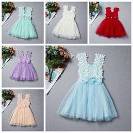 Wholesale Girls Crochet Lace Vests - 2017 Summer Baby Girls Lace Dress Kids Sundress Gauze Jumper Skirt Europe American Children Crochet Vest Dress 6 style