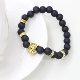 Wholesale Gold Beads For Bracelets - New Fashion Buddha Beads Bracelets Beaded Strands With Lion Leopard Head Pendant Jewelry For Man Free Shipping