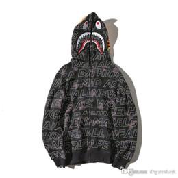 Wholesale Long Zip Sweaters - Wholesale Teenager Hot Camo Shark Hoodies Cartoon Letter Print Sweater Jacket Full Zip Hoodie Fleece Cardigan Sweatshirt Coat