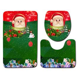 Wholesale Toilet Carpets - 3Pcs Christmas Santa Claus Design Pedestal Rug Bath Mat Flannel Seashell Contour Pedestal Rug Lid Toilet Cover Carpet Bathroom Set