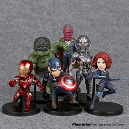 Wholesale Marvel Iron Man Figure - Marvel Avengers 2 Age of Ultron Hulk Black Widow Vision Ultron Iron Man Captain America Action Figures Model Toys 6pieces set