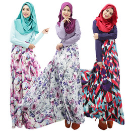 Wholesale ethnic clothing - Fashion Muslim prayer service New Arab Women Robes Long Sleeves Islamic Ethnic Clothing Fashion Printing Casual Dress