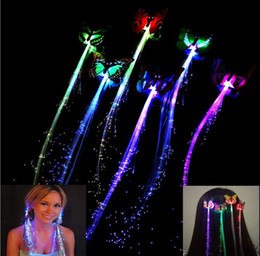 Wholesale Assorted Led Lights - Butterfly Rave LED Hair Braid Light-Up Flashing Fiber Optic Barrette Hair Assorted for Party Christmas supplies free shipping JF-46
