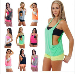 Wholesale Cheap Gym Vests - Hot Women's Sexy Bodybuilding Sports Vest Female Casual Loose Gym Fitness Tank Tops Cheap Summer Sleeveless Smock Tanks M-XL