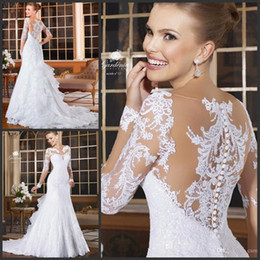 Wholesale White Dress Sheer Sleeves - Vintage 2016 Full Lace White Sparkly Mermaid Wedding Dresses Elegant Sheer Back Applique Long Sleeve Wedding Gowns Wedding Dress