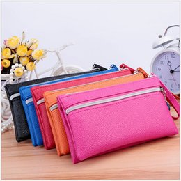 Wholesale Credit Card Holders Cheap - New Cheap Leather Women Long Wallets Ladies Travel Wallet Zipper Purses Clutch Candy Colors Wedding Fashion Party TRD-027