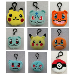 Wholesale Game Elf - New Arrival Plush Keychain Dolls Toys Pendant Key Chains Dolls KeyChain Pikachu Elf Pokeball Go keych Mobile Bag 6cm Christmas Gifts