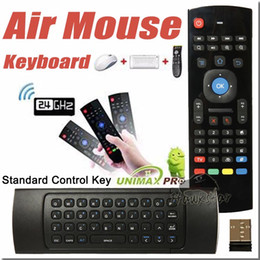 Wholesale Android Tv Box Remote Combo - U1 Wirless Mini Keyboard Air Mouse Remote Control 2.4G Sensing Gyroscope Sensor MIC Combo MX3 For MXQ M8S S905 Android TV BOX