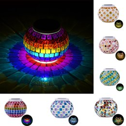 Wholesale Stained Glass Garden Lamps - Mosaic Solar Light RGB Glass Ball Solar Powered Rechargeable Waterproof LED Garden Lamp For Decoration Party Xmas Color