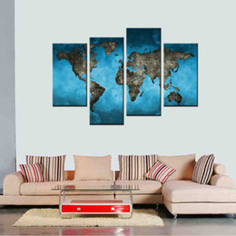 Wholesale Frames Backgrounds - 4 Pieces Canvas Painting Blue Background Map Painting with Frame World Map Picture Print On Canvas For Home Decor for Gifts Ready to Hang