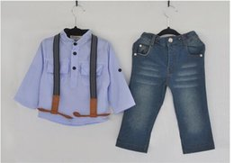 Wholesale Summer Striped Shirts For Boys - 2016 Childrens Clothing Sets For Spring Baby Boy Suit Long Sleeve Shirts + Jeans 2Pcs Suit Sets ZJ-41