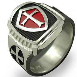 Wholesale Army Plate - Size 7-15 Stainless Steel Black Red Crusade Cross Ring Titanium Cocktail Statement Military Army Medieval Shield Middle Age