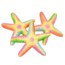 Wholesale Gift Box 18cm - 10Pcs Cute Squishy Starfish Sea Star Slow Rising Retail Box Jumbo 18Cm Phone Straps Cream Scented Cake Bread Kid Toy Gift Doll