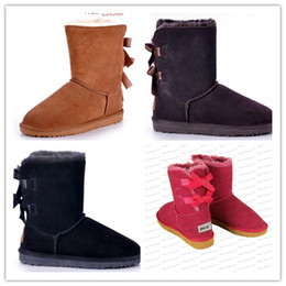 Wholesale Christmas Hand Work - Wholesale 2016 Christmas Promotion Womens boots BAILEY BOWknot Boots 2014 NEW Snow Boots for Women free shipping EUR 36-41