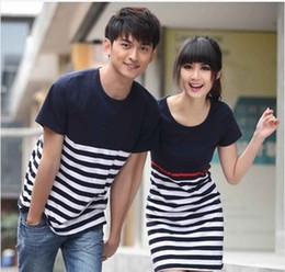 Wholesale White Shits - Wholesale- Hot Selling Fashion Couple Clothes Lovers Summer Casual Navy Blue And White Striped T Shits Cute Korean Style Couple Shirts