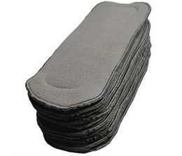 Wholesale Diapers Inserts - Babyland 5 layers bamboo charcoal cloth diaper inserts changing pads