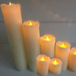 Wholesale Decoration Flame Light - Set Of 6 Skinny Real Wax Battery Operated LED Flamless Pillar Candles light   led pillar candles
