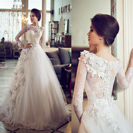 Wholesale Jewel Brush - High Quality Appliques Lace Long Sleeve Wedding Dresses Tulle Brush Train Vestido De Noiva Beautiful Flowers Wedding Gowns