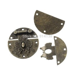 "Wholesale Bronze Parts - Free Shipping 10 Sets Box Buckles Bag Locks Pattern Carved Round Bronze Tone 3.9cm(1 4 8"") Dia. Bag Parts & Accessories B01204"