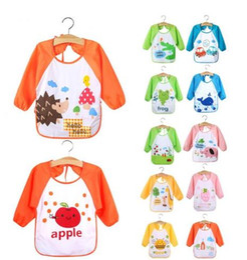 Wholesale Long Cotton Smock - Cute Cartoon Newborn Baby Toddler Kids Long Sleeve Art Smock Bib Waterproof Apron