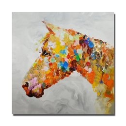 Wholesale Hand Horse Painting - Animal Wall Painting on Canvas Home Decor Bedroom Wall Pictures Hand painted Abstract Horse Oil Painting Beautiful Color No framed