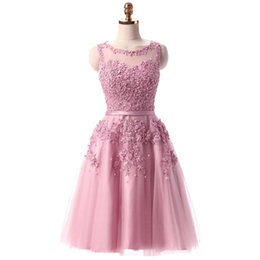 Wholesale Vintage Lace Flower Pearl - 2016 Abendkleider Sweet Pink Lace Short Evening Dresses Bride Embroidery with Beaded Sexy Backless Party Cocktail Dress Plus Size Formal