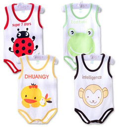 Wholesale Boys 24 Months Pajamas - Children pajamas Spring summer newborn baby vest baby rompers sleeveless sleepping bag clothing jumpsuit baby girls boys clothes