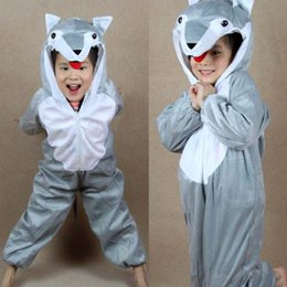 Wholesale Games Stages - Grey Wolf Costumes Kids Plush One piece Rompers Children Cartoon Animal Cosplay Role Play Stage Performance Halloween Christmas Party