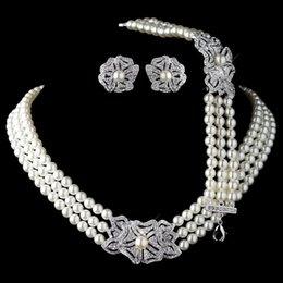 Canada Élégant argent rhodié ton ivoire perle strass cristal collier boucles d'oreilles avec bracelet ensembles de bijoux de mariage floral Vintage Offre