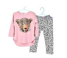 Wholesale Toddler Girl White T Shirt - 2016 Girls Clothes Toddler Girls Clothing Sets Baby Girls Kids Clothes Children Clothing Full Sleeve T Shirt Leopard Legging Vestidos