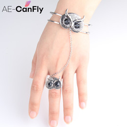 Wholesale Harness Cuffs - Wholesale- Ethnic Owl Open Bangle Cuff Slave Chain Link Wristband Harness Bracelets for Women 2K1007