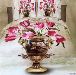 Wholesale Green White Flowered Quilt - hot 3D Flowers Reactive printing cotton 4 pcs bedding set duvet quilt cover bed sheet Pillowcase bedclothes Home Textiles AS102