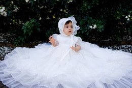 Wholesale Hot Communications - Hot Sale Lace Long Christening Dresses For Baby Girl Tiered Baptism Gown Cheap Organza Kid First Communication Dress