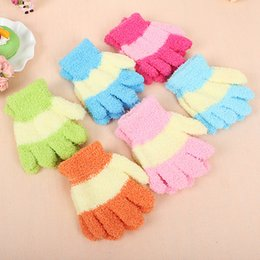 Wholesale Babies Knitted Mittens - mix colors coral cashmere baby winter gloves mittens children outdoor warm gloves kids knitted winter gloves for kids