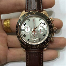 Wholesale Small Seconds Watch - Top brands Mens Luxury watches White casual Men Automatic mechanical Brown Leather strap Small seconds chronograph man sports wristwatches